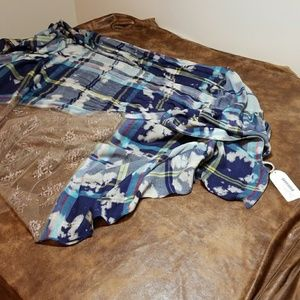 NWT  Printed lace and plaid scarf/shawl